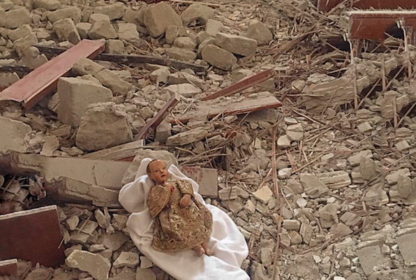 The Camerino doll following the earthquake of 2016.