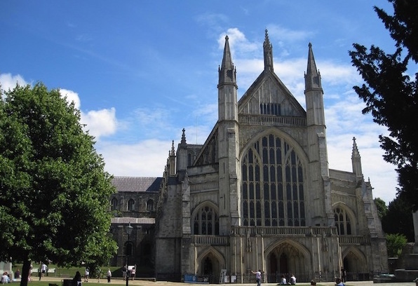 Winchester Cathedral on a bright day.