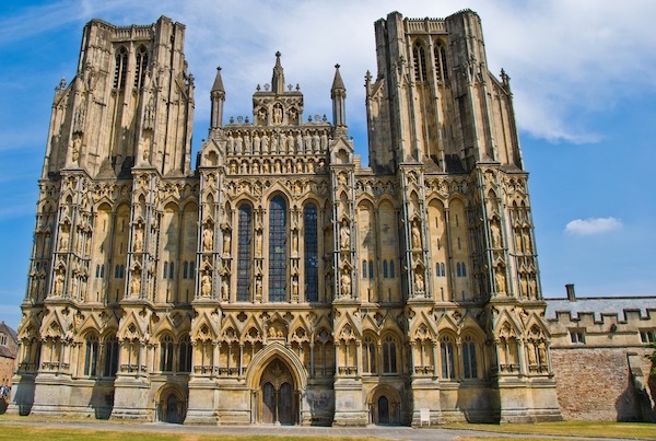 Wells Cathedral on a sunny day.