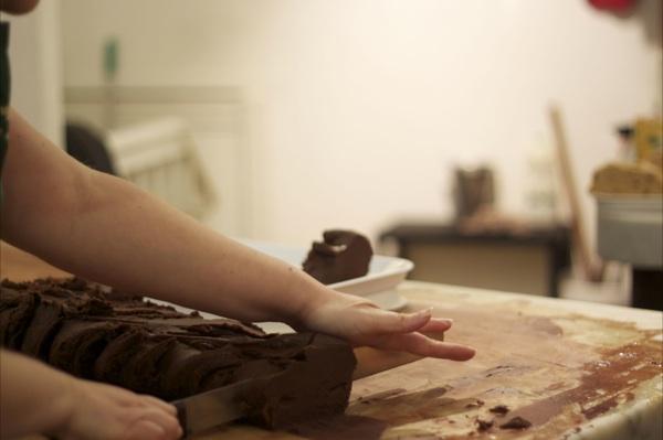 The Fudge Kitchen prepping a bar of fudge