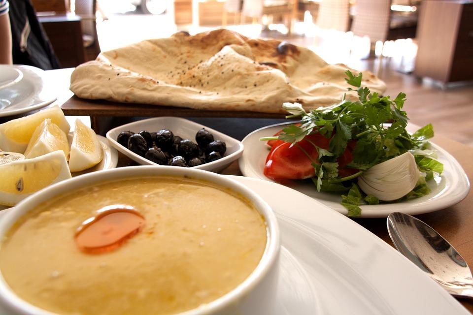 turkish food mezze soup lemons olives bread