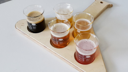 Photograph of beer tasting platter from London Beer Labs
