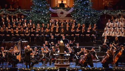 Image of orchestra performing for the Glory of Christmas concert at Barbican Hall