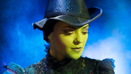 Close up of Elphaba in Wicked the musical in the West End